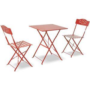 Set Tavolo E 2 Sedie Pieghevoli In Ferro Verniciato Rosso