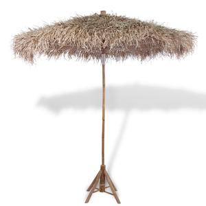 vidaXL Ombrellone in legno di bambù 270 cm parasole foglie