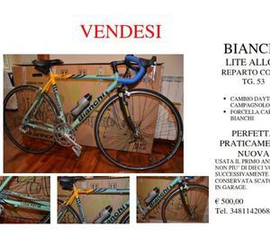Roma Ostia vendo bicicletta BIANCHI LITE ALLOY