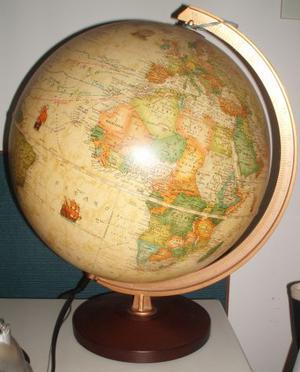 Lampada mappamondo stile antico con viaggi Colombo