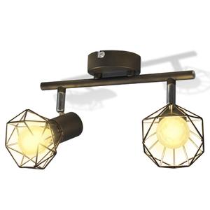 vidaXL Faretto stile industriale nero con 2 lampadine ad