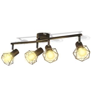 vidaXL Faretto stile industriale nero con 4 lampadine ad