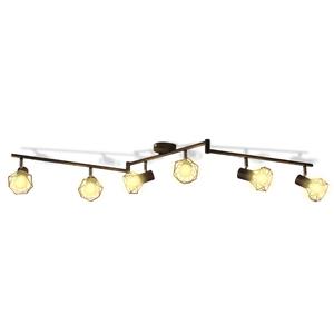 vidaXL Faretto stile industriale nero con 6 lampadine ad