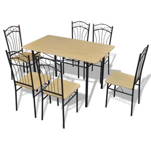 vidaXL Set da pranzo 1 tavolo e 6 sedie marrone chiaro