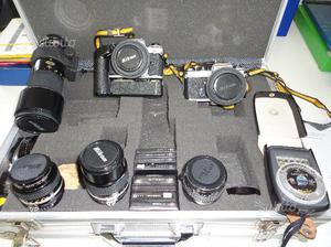 Kit fotografico nikon fe2 + fe + obiettivi + altro