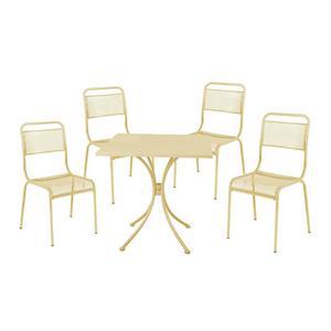 Set salotto jolly tavolo grigio con 4 sedie grigie posot for Sedie in acciaio