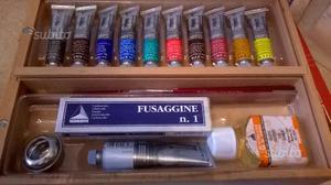 Set per pittura ad olio più libro e cavalletto