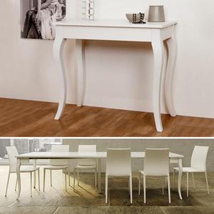 Tavolo consolle net laccata bianco lucido posot class for Consolle allungabile ikea
