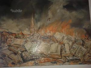 Dipinto olio su tela: falò di libri