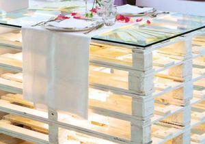 Vendo per mancanza di spazio 3 tavoli di pallet bianchi con vetro ...