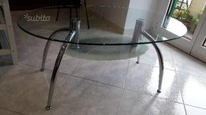 Tavolino due ripiani in vetro