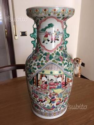 Vaso canton in porcellana policroma