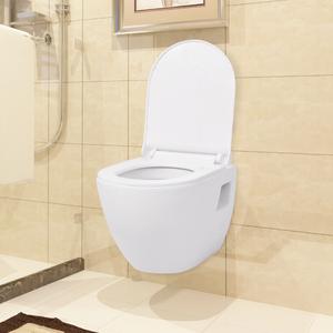vidaXL WC sospeso in ceramica bianca con cassetta