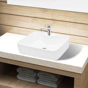 vidaXL Lavandino bagno in Ceramica Bianca quadrato con