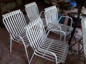 4 sedie in ferro da giardino