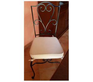 tavolo in legno + 6 sedie ferro battuto