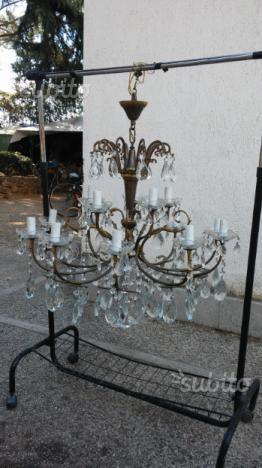 Lampadario 6 braccia con inserti in vetro