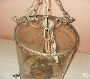 Lampadari antichi in ottone e gocce di Posot Class