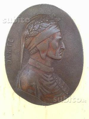 Placca Ovale fusione in bronzo Dante Vintage