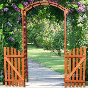 Pergola arco rampicanti seduta acciaio posot class - Cancelli in legno per giardino ...