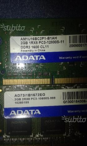 Ram ddr3 per notebook da 1 e 2 gb