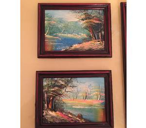 3 Quadri dipinti con Cornice in legno