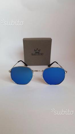 Occhiali da sole a specchio uomo donna nuovi euro posot - Occhiali specchio blu ...