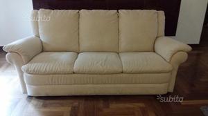 Coppia divani 3 + 2 posti Natuzzi alcantara beige