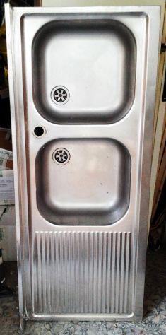 Lavello acciaio inox 120x50 doppia vasca gocciolatolio a SX