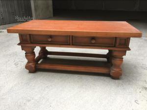 Tavolino in legno anni 90 con 2 cassetti