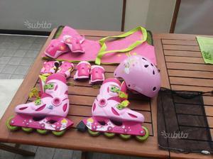 Roller bambina PLAY 3 ROSA OXELO e accessori