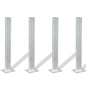 vidaXL Set di Supporti per Paletti 4 pz 40 cm in Acciaio