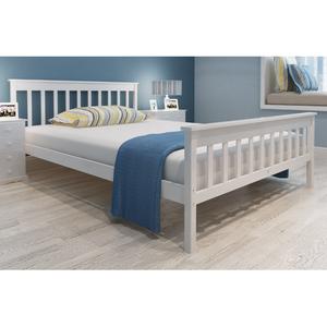 vidaXL Letto in legno bianco 140 cm+Materasso