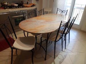 Tavolo usato in ferro battuto con piano di marmo posot class
