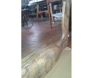 Vecchio sportello armadio in radica con specchio molato sago