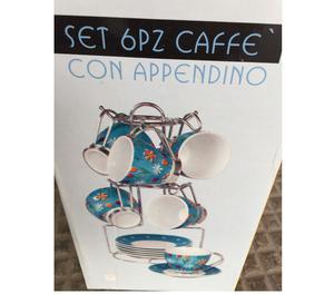 SET CAFFE 6 TAZZINE + PIATTINI CON APPENDINO METALLO