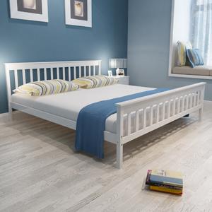 vidaXL Letto in legno di pino 200 x 180 bianco con materasso
