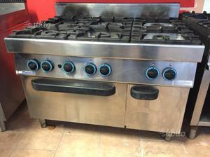 Cucina 6 fuochi industriale a gas con forno posot class - Cucina 6 fuochi ...