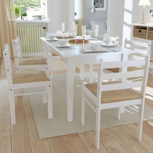 vidaXL Set 6 pz Sedia da tavola quadrata in legno bianco