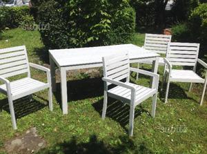 Tavolo con 4 sedie in legno massello shabby