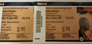 Vendo 2 biglietti Robbie Williams Verona