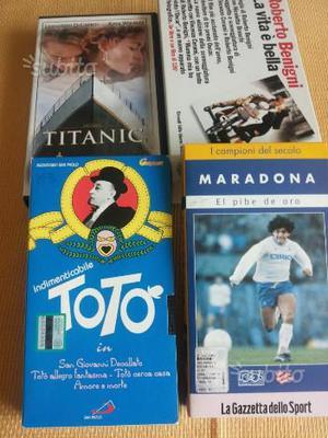 4 Vhs di film vari (Titanic, Maradona, Totò.)