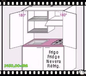 Cucina monoblocco scomparsa sky p l=155cm+ lavello-40%