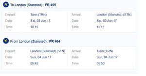 Biglietto Andata/Ritorno Torino - Londra 3-4 Giugno