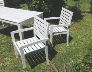 Tavolo da giardino in legno massello con 4 sedie