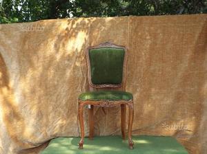 Sedie in legno di faggio, velluto, vintage, verde