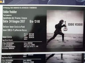 Vendo biglietti concerto Eddie Vedder - Firenze