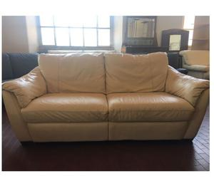 Coppia divani 3 3 posti in vera pelle bianco panna