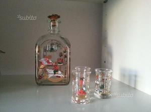 2 Bottiglie vetro decorato dal collezione