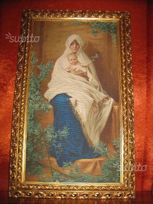 Stampa su tela Madonna con egregia cornice legno